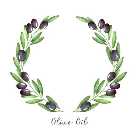 arte greca: Acquerello ramo d'ulivo corona. Disegno a mano vettore cornice naturale.