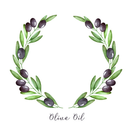 Watercolor olive branch wreath. Hand drawn natural vector frame. Çizim