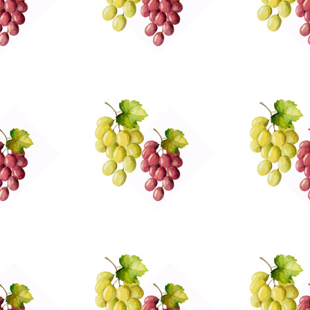 Watercolor seamless pattern bunches of grapes. Vector illustration.
