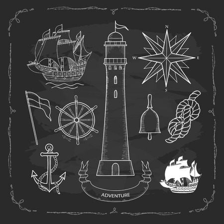 chalk outline: Set elements for design in a Maritime style. Painted by hand on the chalk Board, vector illustration.