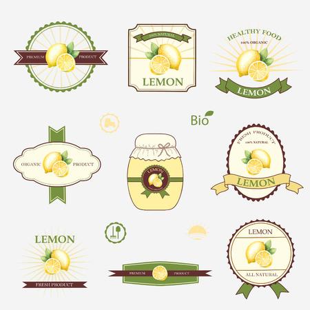 lemon: Lim�n, un conjunto de dise�o y plantillas de etiquetas, ilustraci�n vectorial.