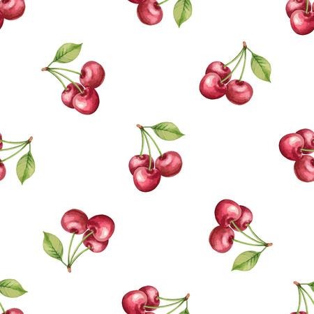 フルーツ、チェリー イラストの水彩画のパターン。