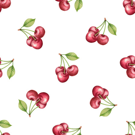 Watercolor pattern of fruit, cherry illustration.