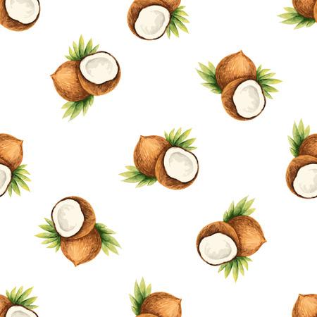 フルーツ、ココナッツ イラスト水彩のパターン。