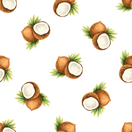 Watercolor pattern of fruit,coconut illustration.