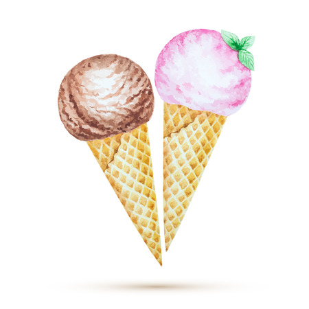licking in isolated: Ice cream in a waffle cone. Watercolor illustration, vector.
