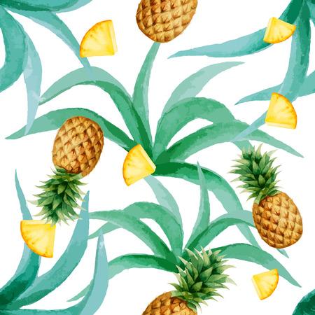 Ananas en bladeren naadloze patroon, waterverf, vector illustratie.