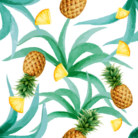 Pineapple and leaves seamless pattern, watercolor, vector illustration.