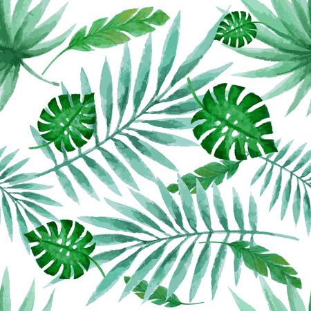 葉のシームレスなパターン、水彩画、ベクトル イラスト
