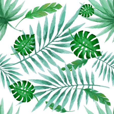 Leaves seamless pattern, watercolor, vector illustration. Illustration