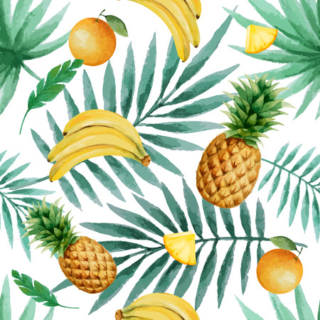 pineapples: Exotic fruits  seamless pattern, watercolor, vector illustration.
