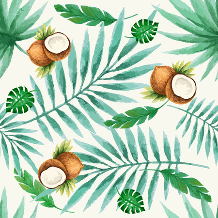 coconut leaf: Exotic fruits  seamless pattern, watercolor, vector illustration.