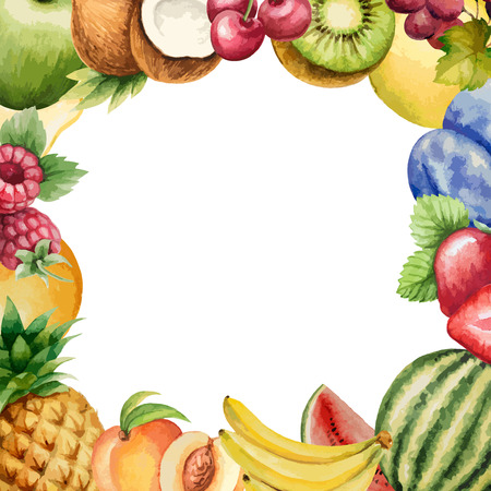 multivitamin: Watercolor fruit, frame for your design. Vector illustration.