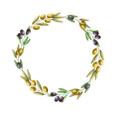 水彩のオリーブの枝の花輪。手描きの自然な背景フレーム。
