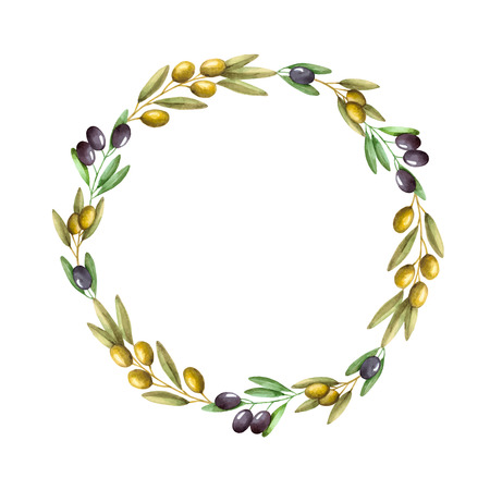 Watercolor olive branch wreath. Hand drawn natural vector frame. Illusztráció