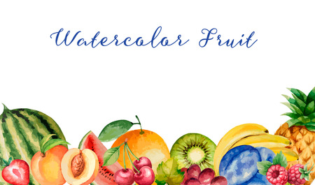 Watercolor fruit, banner for your design. Vector illustration.  イラスト・ベクター素材