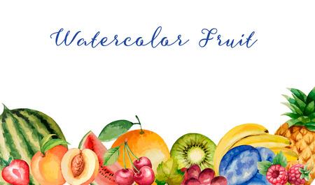 Aquarel fruit, banner voor uw ontwerp. Vector illustratie. Stock Illustratie