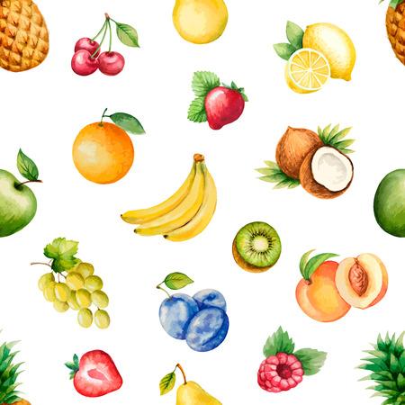 frutas tropicales: Frutas de la acuarela; patr�n, comida sana; ilustraci�n dieta products.Vector.