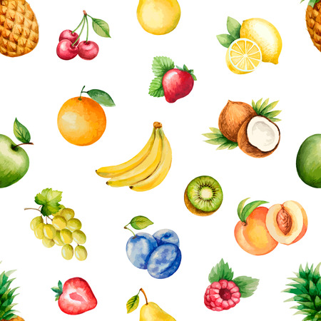 of fruit: Watercolor fruits;pattern, healthy food; diet products.Vector illustration.