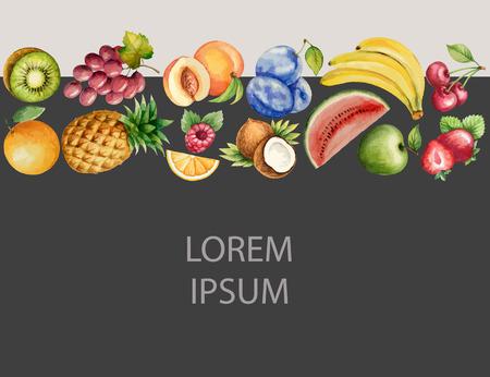 multivitamin: Watercolor fruit, banner for your design. Vector illustration. Illustration