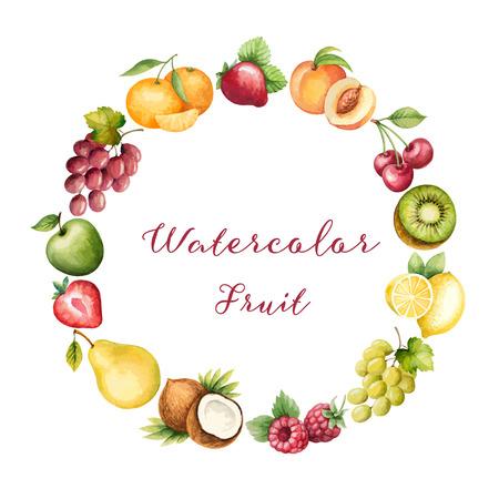 multivitamin: Watercolor fruit,frame for your design. Vector illustration.