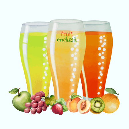 fruit drink: Fruit drink in glasses and fruit, watercolor vector illustration. Separately all the elements.