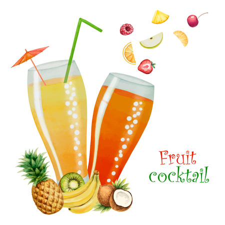 separately: Fruit drink in glasses and fruit, watercolor vector illustration. Separately all the elements.