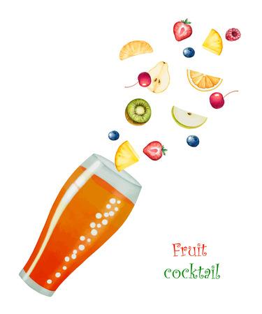 fruit drink: Bevanda di frutta in bicchieri e frutta, illustrazione acquerello vettoriale. Separatamente tutti gli elementi.