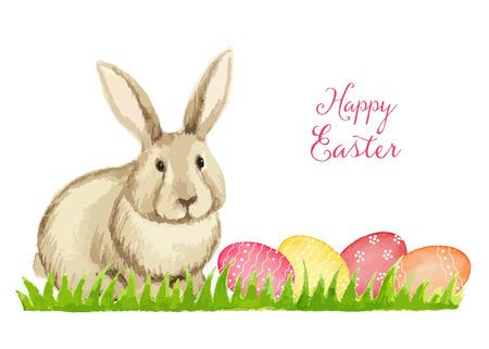lapin: Carte de Pâques sur un fond blanc, aquarelle, illustration vectorielle.