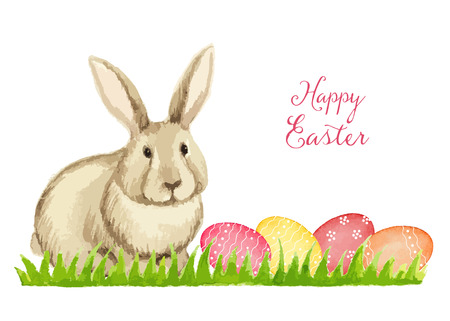 rabbit: Easter card on a white background, watercolor, vector illustration.