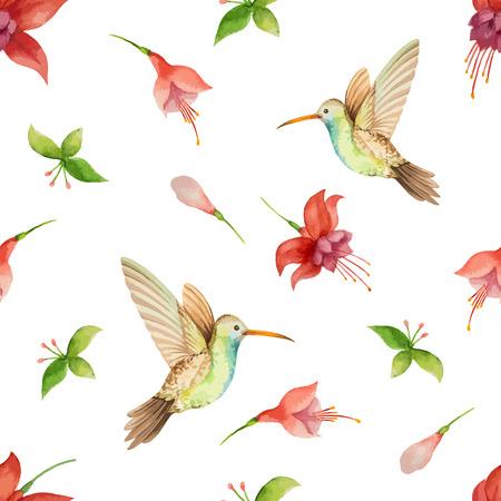 Watercolor pattern, fuchsia flowers and Hummingbird on white background, vector illustration. Stock Illustratie