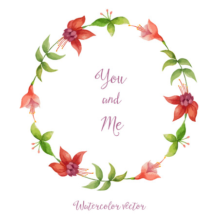 Floral, watercolor, round frame for your design.