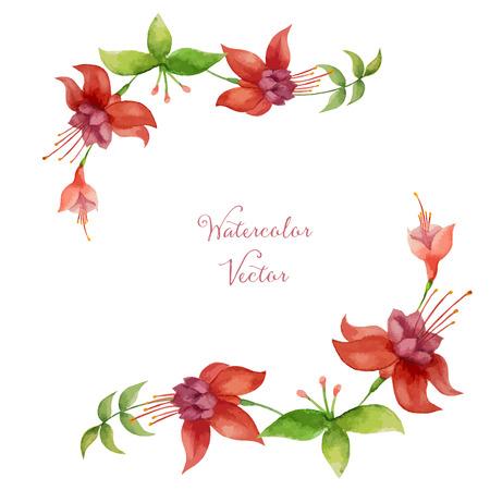 flores fucsia: Floral, marco de la acuarela para su diseño. Ilustración del vector.