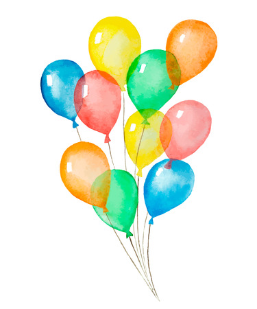 A bunch of colorful balloons inflatable, watercolor, vector illustration. Çizim