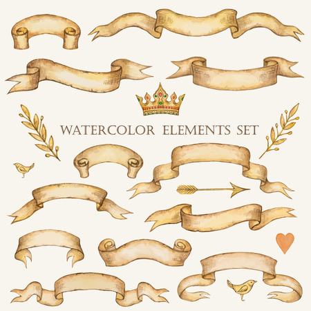scroll paper: Watercolor set of ribbons for your design, vector illustration. Illustration