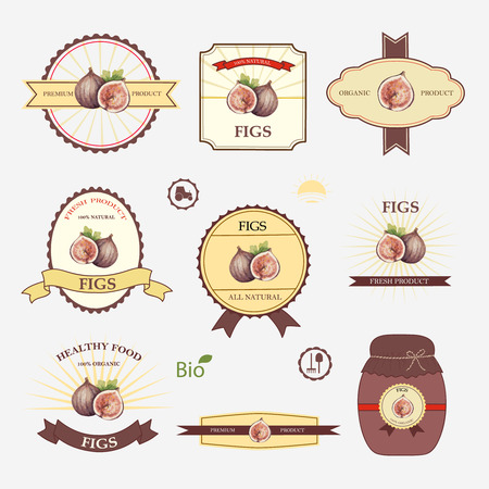 fig leaf: Figs, set of label design and templates, vector illustration.