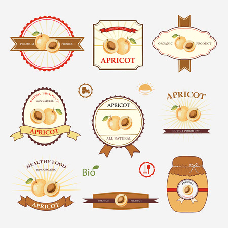 apricot: Apricot, set of label design and templates, vector illustration.
