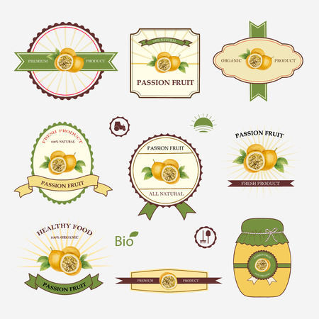 passion ecology: Passion fruit, set of label design and templates, vector illustration.