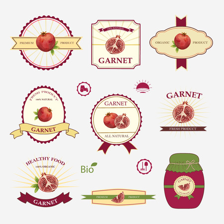 garnet: Garnet, set of label design and templates, vector illustration. Illustration