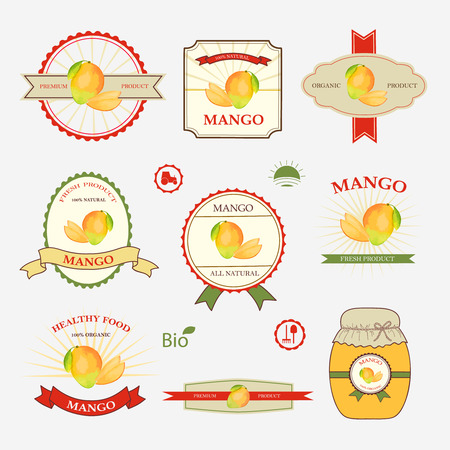 mangoes: Mango, set of label design and templates, vector illustration.