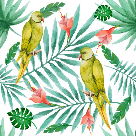 parakeet: Watercolor pattern, parrot and palm branches, vector illustration.