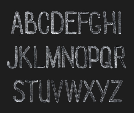 Chalk hand drawing alphabet, vector illustration. ABC Painted Letters.