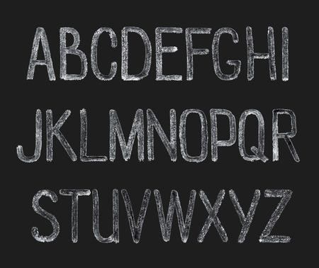 Dessin à la craie alphabet part, illustration vectorielle. ABC lettres peintes. Vecteurs