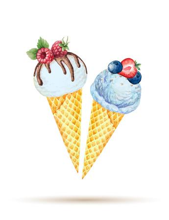 ワッフル コーンにアイスクリーム。水彩イラスト ・ ベクター。  イラスト・ベクター素材