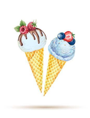 와플 콘에 아이스크림. 수채화 그림, 벡터입니다.