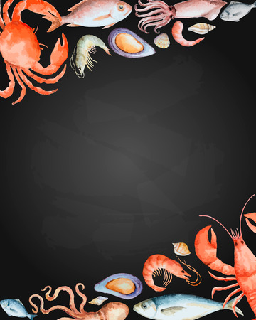 Watercolor set of seafood from lobster, crab, fish, squid, octopus, shrimp, shells on chalk Board for your menu or design, vector illustration. Vettoriali