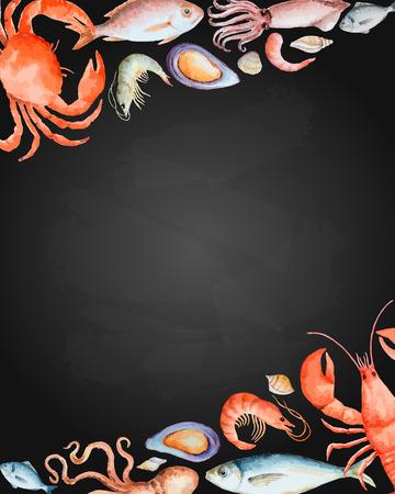 la marinera: Conjunto de la acuarela de pescados y mariscos de la langosta, cangrejo, pescado, calamar, pulpo, camarones, conchas en Junta de tiza para su men� o el dise�o, ilustraci�n vectorial.
