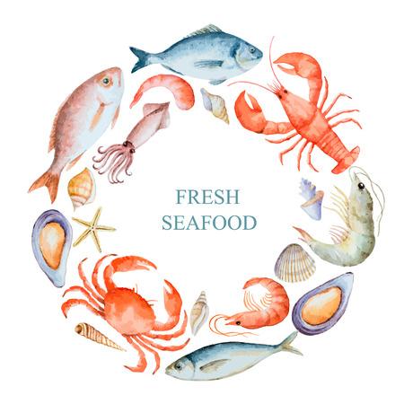 Conjunto de la acuarela de pescados y mariscos de la langosta, cangrejo, pescado, calamar, pulpo, camarones, conchas sobre un fondo blanco para el menú o el diseño, ilustración vectorial.