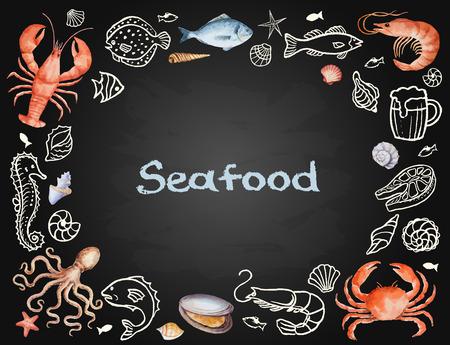 camaron: Conjunto de la acuarela de pescados y mariscos de la langosta, cangrejo, pescado, calamar, pulpo, camarones, conchas en Junta de tiza para su men� o el dise�o, ilustraci�n vectorial.