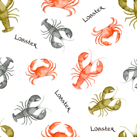 lobster: Watercolor seamless pattern with seafood on white background. Vector illustration.